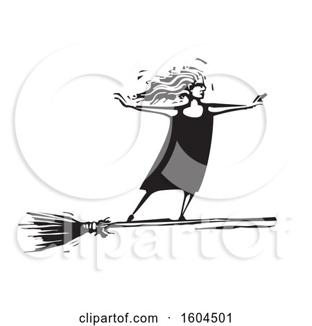 Clipart of a Witch Standing Upright and Flying on a Broom in Black and White Woodcut - Royalty Free Vector Illustration by xunantunich
