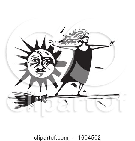 Clipart of a Witch Standing Upright and Flying on a Broom Against a Sun in Black and White Woodcut - Royalty Free Vector Illustration by xunantunich