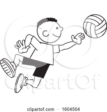 Clipart of a Black Boy Playing Volleyball - Royalty Free Vector Illustration by Johnny Sajem