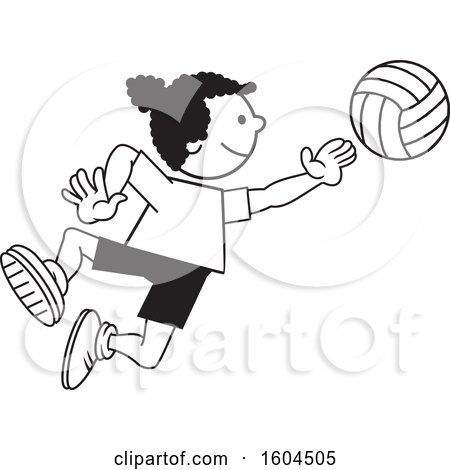 Clipart of a Black Girl Playing Volleyball - Royalty Free Vector Illustration by Johnny Sajem