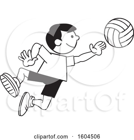 Clipart of a Black and White Boy Playing Volleyball - Royalty Free Vector Illustration by Johnny Sajem