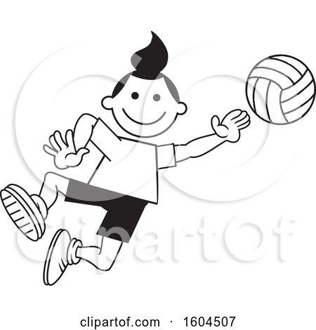 Clipart of a Black and White Girl Playing Volleyball - Royalty Free Vector Illustration by Johnny Sajem