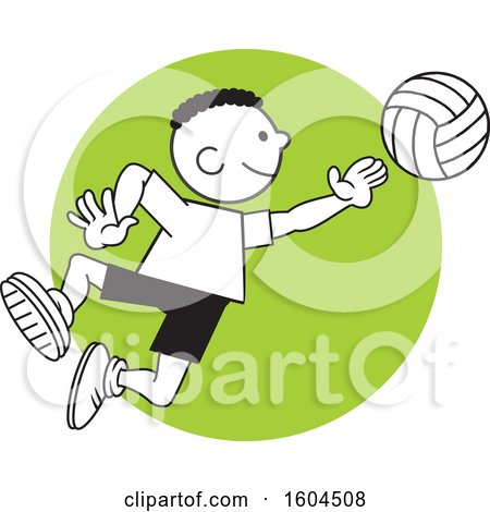 Clipart of a Black Boy Playing Volleyball over a Green Circle - Royalty Free Vector Illustration by Johnny Sajem