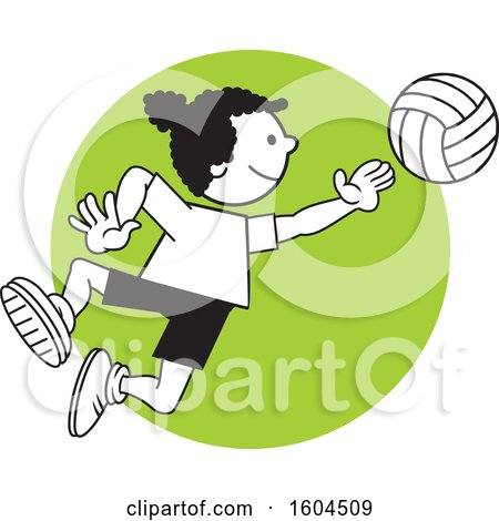 Clipart of a Black Girl Playing Volleyball over a Green Circle - Royalty Free Vector Illustration by Johnny Sajem