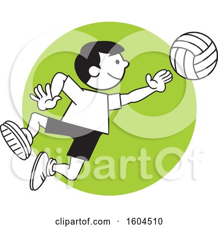 Clipart of a Boy Playing Volleyball over a Green Circle - Royalty Free Vector Illustration by Johnny Sajem
