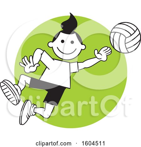 Clipart of a Girl Playing Volleyball over a Green Circle - Royalty Free Vector Illustration by Johnny Sajem