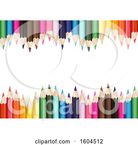 Clipart of a Background of Colored Pencils on White - Royalty Free Vector Illustration by dero