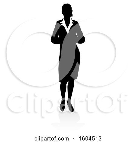 Clipart of a Silhouetted Business Woman, with a Shadow on a White Background - Royalty Free Vector Illustration by AtStockIllustration
