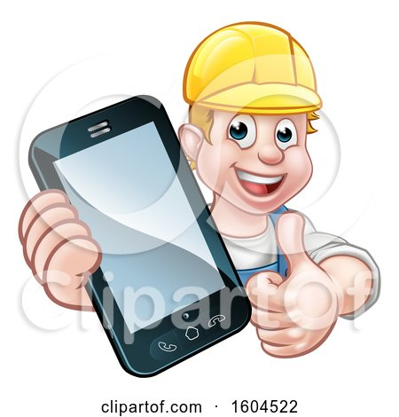 Clipart of a White Male Handyman Holding out a Smart Phone and Thumb up over a Sign - Royalty Free Vector Illustration by AtStockIllustration