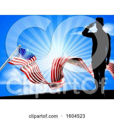 Clipart of a Silhouetted Full Length Male Military Veteran Saluting over an American Ribbon Flag and Sky - Royalty Free Vector Illustration by AtStockIllustration