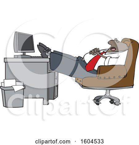 Clipart of a Cartoon Black Businessman Sleeping with His Feet on His Desk - Royalty Free Vector Illustration by djart