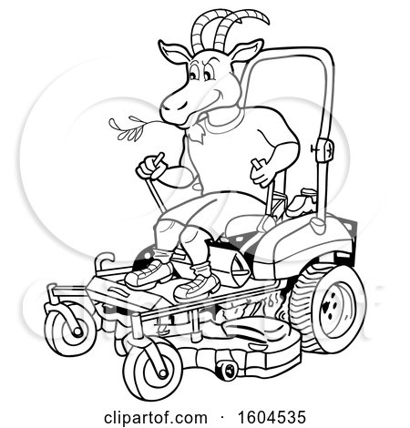 Clipart of a Cartoon Black and White Goat on a Zero Turn Lawn Mower - Royalty Free Vector Illustration by LaffToon