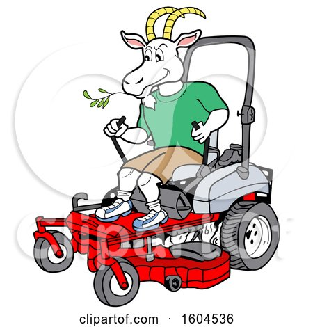 Clipart of a Cartoon Goat on a Zero Turn Lawn Mower - Royalty Free Vector Illustration by LaffToon