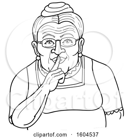 Clipart of a Cartoon Black and White Granny Shushing by Holding a Finger over Her Mouth - Royalty Free Vector Illustration by LaffToon