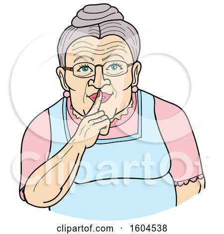 Clipart of a Cartoon Granny Shushing by Holding a Finger over Her Mouth - Royalty Free Vector Illustration by LaffToon