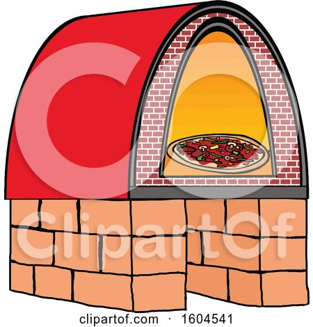 Clipart of a Cartoon Brick Oven Pizza - Royalty Free Vector Illustration by LaffToon