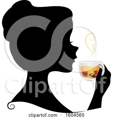 Clipart of a Profiled Silhoutted Woman Drinking a Cup of Mushroom Tea or Broth - Royalty Free Vector Illustration by BNP Design Studio