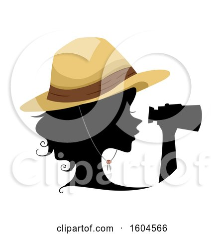 Clipart of a Profiled Silhoutted Woman Explorer Using Binoculars - Royalty Free Vector Illustration by BNP Design Studio