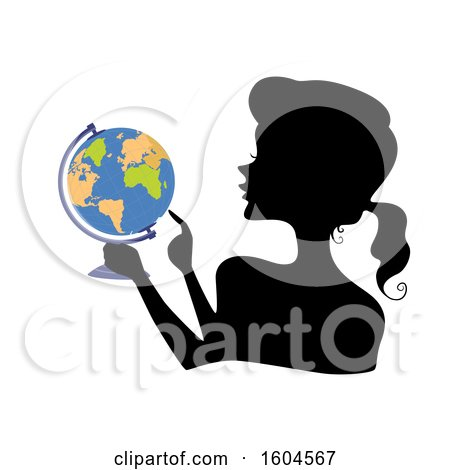 Clipart of a Profiled Silhoutted Woman Holding a Globe and Pointing to a Location - Royalty Free Vector Illustration by BNP Design Studio