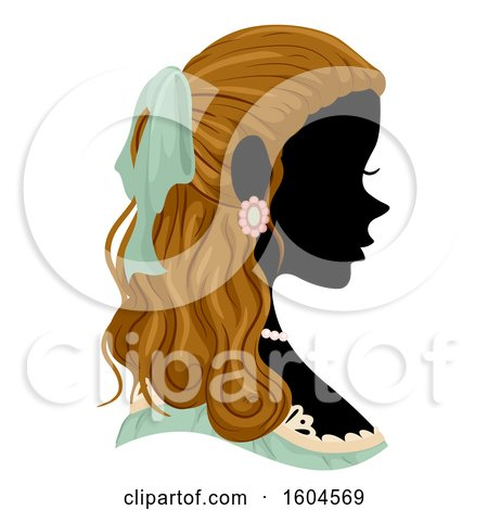 Clipart of a Profiled Silhoutted Woman Wearing a Victorian Costume - Royalty Free Vector Illustration by BNP Design Studio