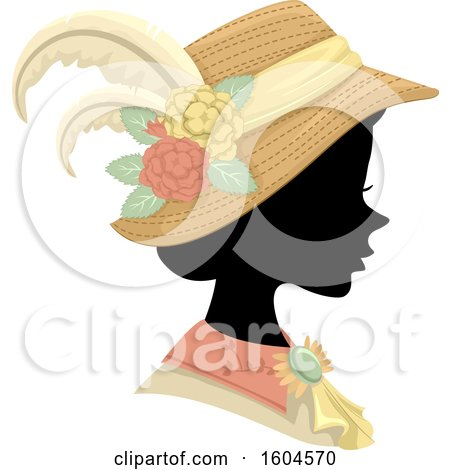 Clipart of a Profiled Silhoutted Woman Wearing a Victorian Hat and Dress - Royalty Free Vector Illustration by BNP Design Studio