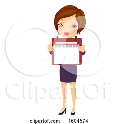 Clipart of a Brunette White Business Woman Holding out a Calendar - Royalty Free Vector Illustration by BNP Design Studio