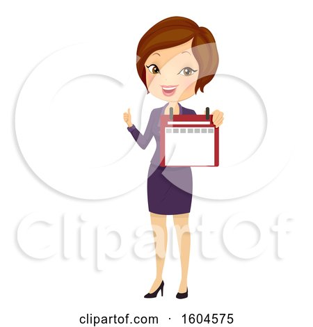 Clipart of a Brunette White Business Woman Holding a Calendar and Thumb up - Royalty Free Vector Illustration by BNP Design Studio