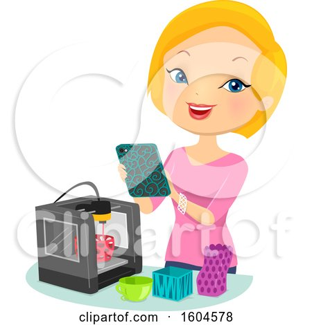 Clipart of a Happy Blond White Woman Making 3d Printer Products - Royalty Free Vector Illustration by BNP Design Studio