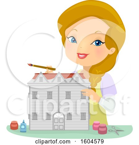 Clipart of a Happy Blond White Woman Painting a Doll House - Royalty Free Vector Illustration by BNP Design Studio