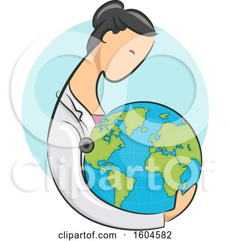 Clipart of a Female Doctor Holding Planet Earth - Royalty Free Vector Illustration by BNP Design Studio