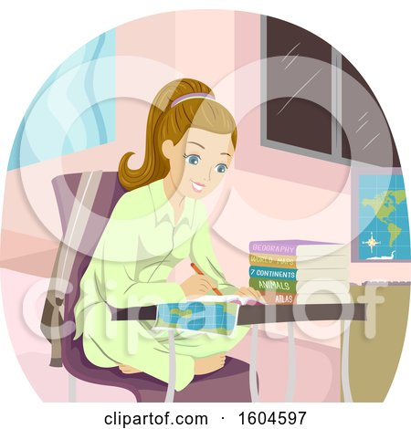 Clipart of a Happy Blond White Teen Girl Writing over a Map - Royalty Free Vector Illustration by BNP Design Studio