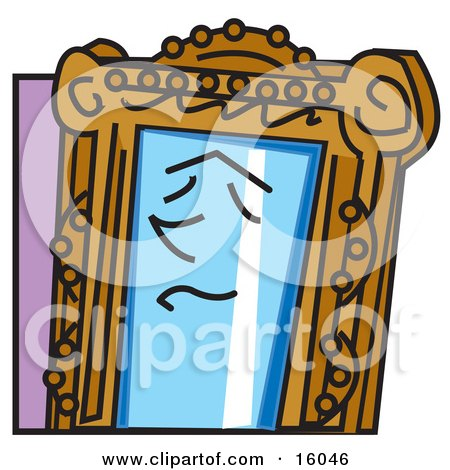 Face On A Magic Mirror Clipart Illustration by Andy Nortnik