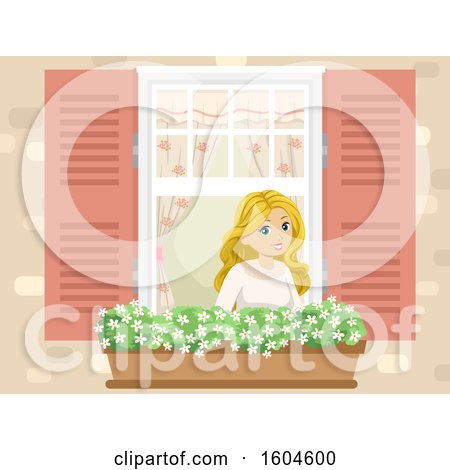 Clipart of a Happy Blond White Teen Girl in a Window with a Garden Basket - Royalty Free Vector Illustration by BNP Design Studio