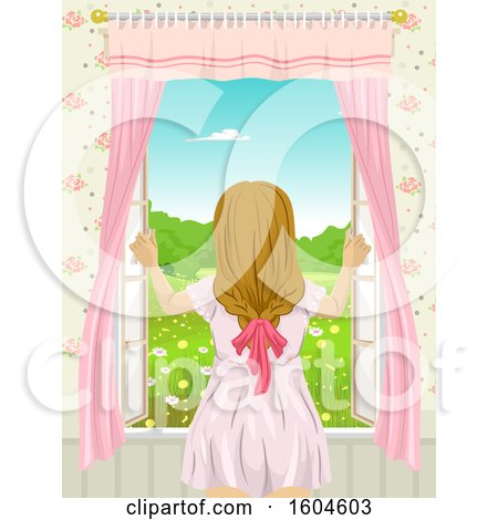 Clipart of a Rear View of a Teen Girl Opening a Window - Royalty Free Vector Illustration by BNP Design Studio