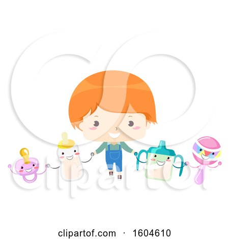 Clipart of a Red Haired Toddler Boy Holding Hands with a Bottle Pacifier Sippy Cup and Rattle - Royalty Free Vector Illustration by BNP Design Studio