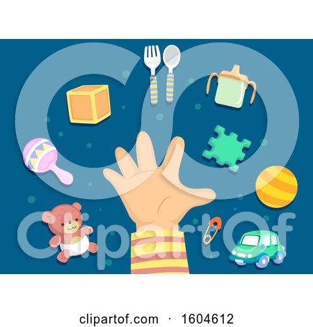Clipart of a Toddler Hand with Toys and Eating Accessories - Royalty Free Vector Illustration by BNP Design Studio