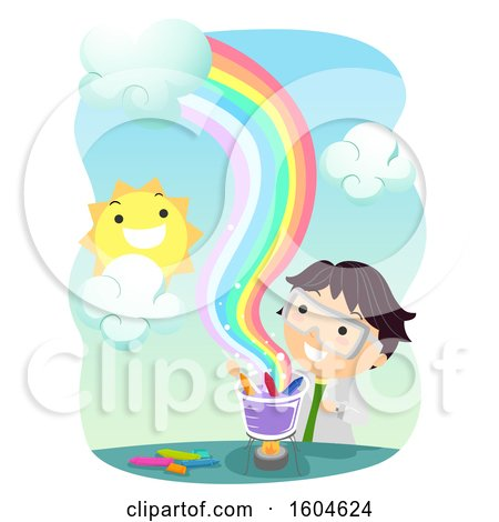 Clipart of a Scientist Boy Heating Crayons to Make a Rainbow - Royalty Free Vector Illustration by BNP Design Studio