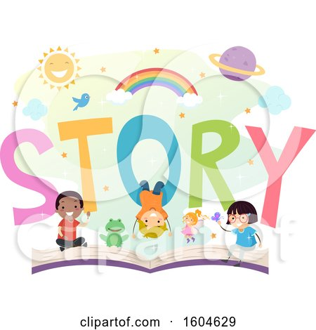 Clipart of a Group of Children and a Frog on an Open Story Book - Royalty Free Vector Illustration by BNP Design Studio
