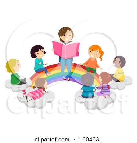 Clipart of a Female Teacher Reading a Story to Students As They All Sit on a Rainbow - Royalty Free Vector Illustration by BNP Design Studio