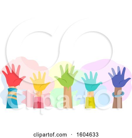 Clipart of a Group of Raised Hands of Kids with Colorful Paint - Royalty Free Vector Illustration by BNP Design Studio
