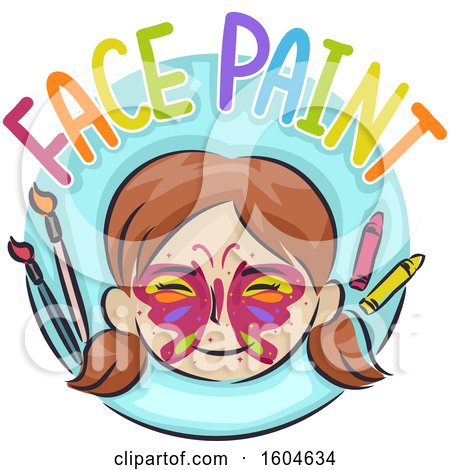 Clipart of a Girl with a Butterfly Painted on Her Face - Royalty Free Vector Illustration by BNP Design Studio
