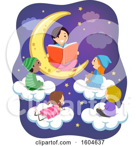 Clipart of a Female Teacher Sitting on a Moon and Reading a Story to Children on Clouds - Royalty Free Vector Illustration by BNP Design Studio
