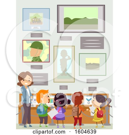 Clipart of a Female Teacher and Students at a Memorial Museum - Royalty Free Vector Illustration by BNP Design Studio