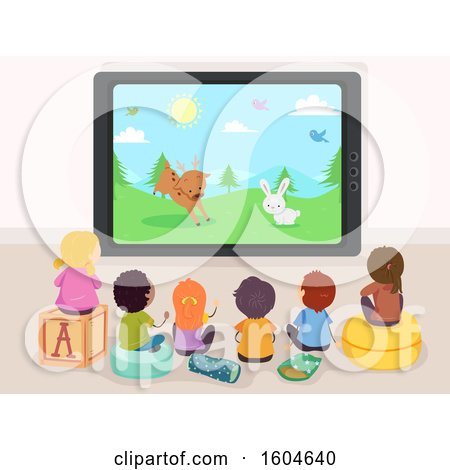 Clipart of a Rear View of Children Watching an Animal Cartoon on Tv - Royalty Free Vector Illustration by BNP Design Studio