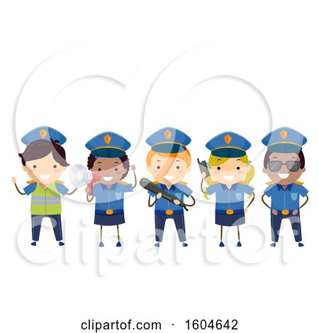 Clipart of a Group of Police Children with a Radio, Baton and Megaphone - Royalty Free Vector Illustration by BNP Design Studio