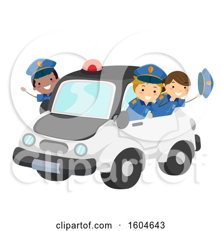 Clipart of a Group of Children Riding in a Police Car - Royalty Free Vector Illustration by BNP Design Studio