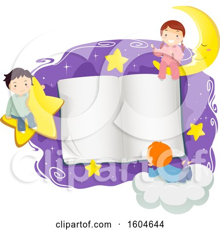 Clipart of a Group of Children in Pjs Around an Open Book with Stars and a Crescent Moon - Royalty Free Vector Illustration by BNP Design Studio
