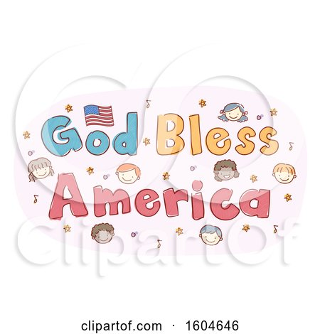 Clipart of a Sketched God Bless American Design with Music Notes Stars and Faces of Children - Royalty Free Vector Illustration by BNP Design Studio