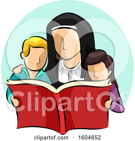 Clipart of a Nun Reading a Book with Children - Royalty Free Vector Illustration by BNP Design Studio