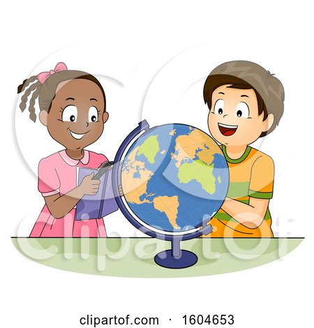 Clipart of a Boy and Girl Looking at a Globe and Using a Geography Book for Reference - Royalty Free Vector Illustration by BNP Design Studio
